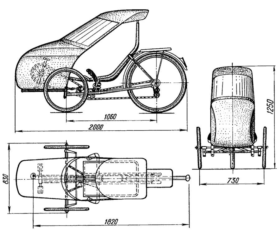 трёхколёсный одноместный веломобиль с обтекателем