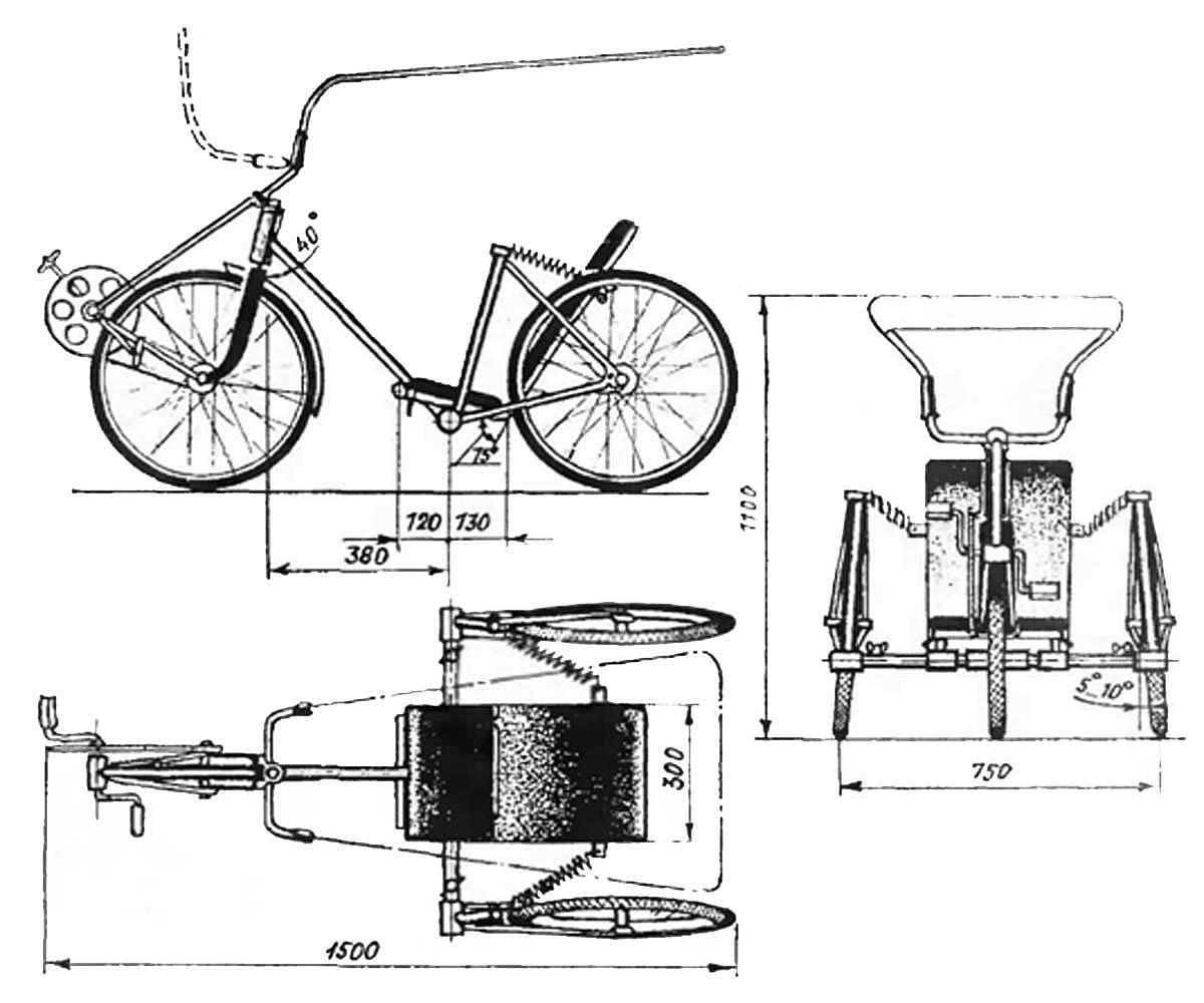 одноместный трёхколёсный велосмобиль построенный с максимальным использованием велосипедных узлов