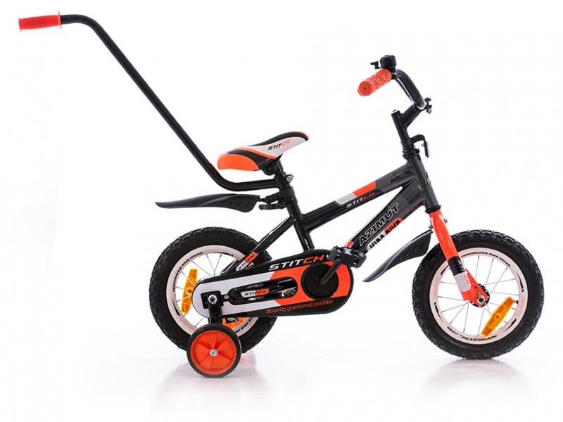 детский четырёхколёсный велосипед с ручкой